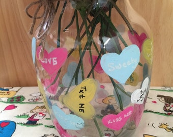 Valentine's Day Sweet heart candy Flower Vase - floral pink purple teal colorful multicolor candies