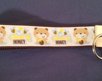 1 Inch Wide Honey Bear  Grosgrain Pattern Key Fob
