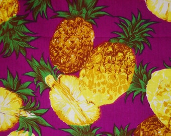 Pineapple on Purple-Cotton Printed-Beach wear supply-Skirt fabric-Kitchen wear supply-Handcraft material-Napkin and table cloth fabric1Y80cm