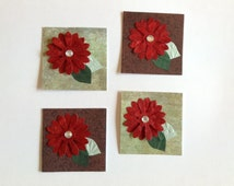 4 flower embellishments autumn, card making, scrapbooking, red, smash book embellishment, floral gift tag