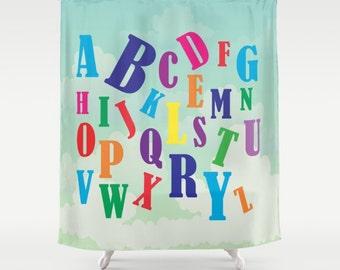 Alphabet Fabric Shower Curtain , Kids Shower Curtain , Kids Bathroom ,  Bathroom Decor , Kids