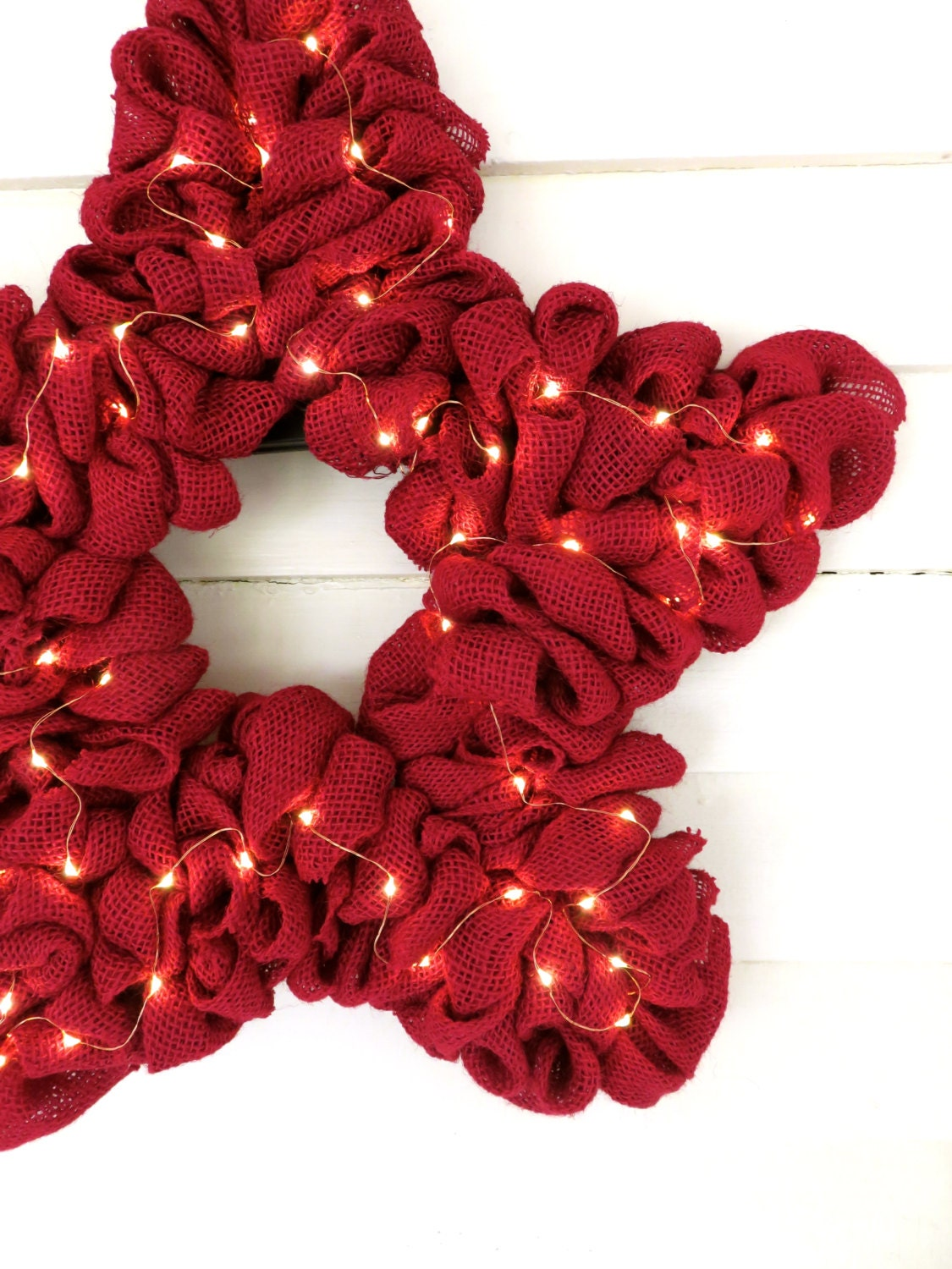 Light up burlap wreath fourth of july wreath by for Burlap wreath with lights