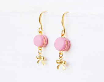 Elfi Handmade Cute Pink Macaron Earrings, Dessert Food Jewelry, Gold Bow Earrings, Donut Charm, Perfect for Christmas Gift, Best Selling