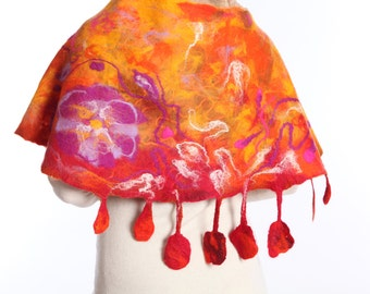 Original wool felted orange wrap with lilac poppy