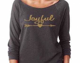 Joyful Gold Arrow Womens Long Sleeve Off the Shoulder Tee T Shirt Top