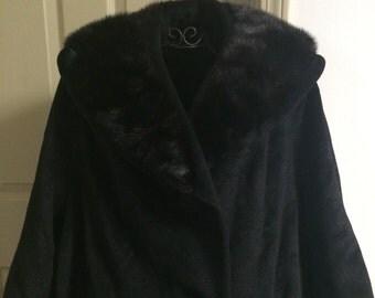 Vintage Black Fur Collar Coat by Blin & Blin, size 10