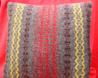 Felted Shetland Wool Cushion cover with Fair Isle pattern