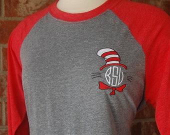 Read Across America-Tee-shirt-Dr Seuss Shirt-Dr Seuss Tee-Teacher Shirt-Teacher Tee-Monogram Teacher Tee-Dr Seuss Birthday