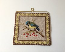 Vintage Swedish blue tit twist stitch picture // Bird wall hanging // Scandinavian 70s linen // Small wall hanging