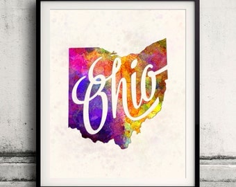Ohio - Map in watercolor - Fine Art Print Glicee Poster Decor Home Gift Illustration Wall Art USA Colorful - SKU 1750
