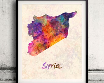 Syria - Map in watercolor - Fine Art Print Glicee Poster Decor Home Gift Illustration Wall Art Countries Colorful - SKU 1807