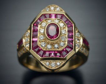 18kt Yellow gold Fashion ring with rubies and diamonds