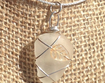 Clear Sea Glass Leaf Necklace