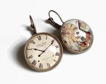 Alice the Wonderland earrings * I'm late! * White Rabbit Alice watch, glass cabochon