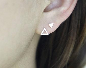 Open Triangle Stud Earrings,Geometric Disk Earrings,Round Stud Earrings,Simple,Modern Silver Jewelry,Gift,Flat Circle Earrings,For Her