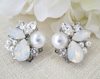 White opal post earring, Swarovski asymmetrical bridal earring, Crystal and pearl wedding earring