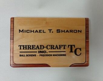 Engraved Business Card Holder, Business Card Holder, Personalized Card Holder, Maple/Rosewood Card Holder