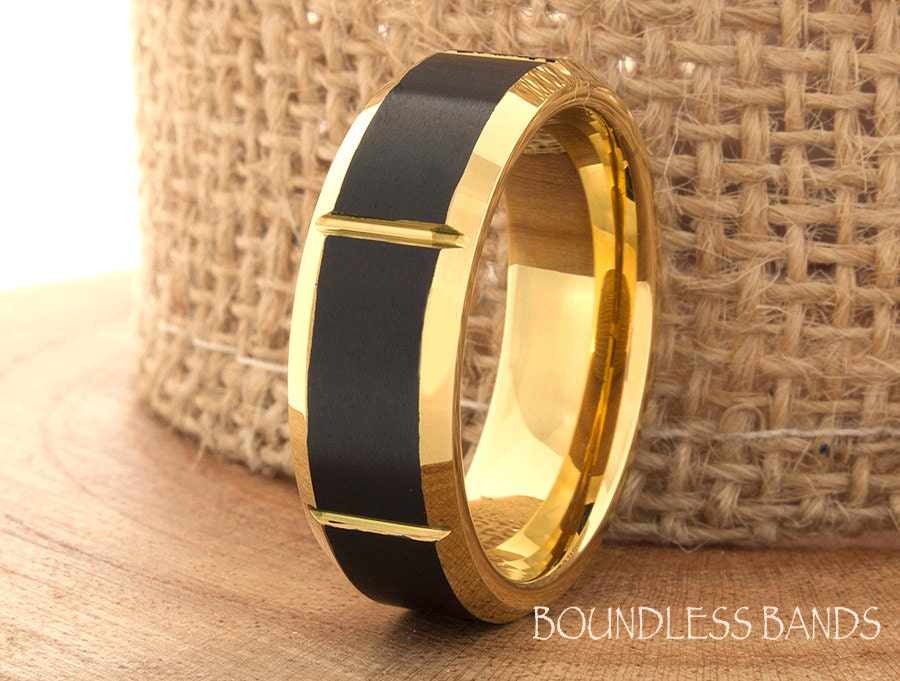 Yellow Gold Tungsten Ring Wedding Band Promise Ring Tungsten