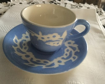 SALE*****CAMEOWARE by Harker Pottery Co USA   Demi Cup and Saucer