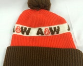 Vintage A&W Root Beer Winter Knit Hat with Pom - Adult OSFA Rare 1970s - Vintage - Heavy Duty - Great Shape - Root Beer