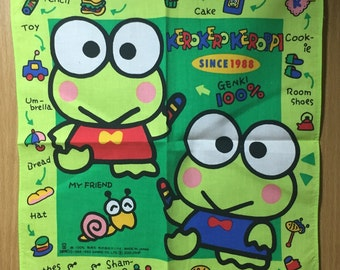 Vintage Child's handkerchief Sanrio Kerokero Keroppi 1992 Made in Japan