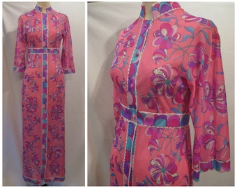 Vintage 60s Emilio Pucci for Formfit Rogers robe, EPFR robe, vintage 60s robe, 60s mod robe, Pucci robe, Pucci caftan