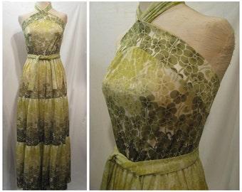 Vintage 70s sundress, 1970s sundress, nylon maxi dress, green floral sundress, Tricosa dress, summer maxi dress