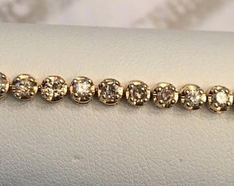 Vintage 14k yellow gold 50 Diamond Line Tennis Style Bracelet 2.00 tw Light Brown-Si2-I2 In round open Halos, 7""