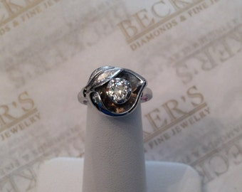 Art Deco 14k white gold Double Etched Flower and Leaf Ring Old European Cut Diamond Center .35 ct K-SI1 size 5