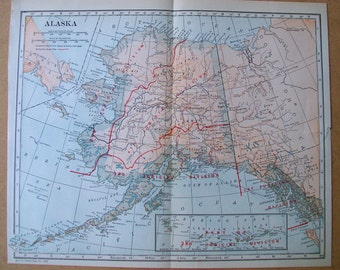 Vintage 1927 Map of Alaska