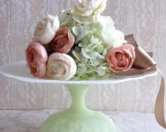 Glass Cake Stand / Satin Glass Cake Stand /  Vintage Dessert  Pedestal / GlassDessert Stand
