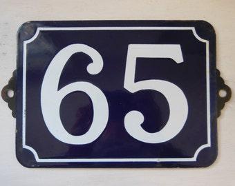 LARGE Antique vintage French enamel HOUSE NUMBER 65