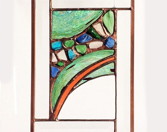 Between Saturn & Neptune Contemporary Beveled Stained Glass Panel / Sun Catcher
