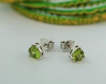 Peridot Green Earrings Sterling Silver