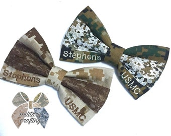 Military camo corner nametape bow with lace center (army acu, multicam/ocp, airforce abu, navy nwu, navy nwu III, marine woodland/desert, co