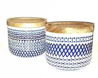 Two handdecorated jars