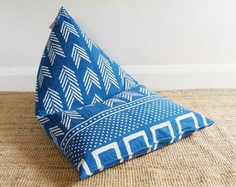 Kids Bean Bag, back rest, seat, chair, Indigo printed