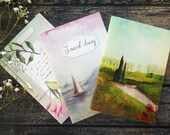 Notebooks set, cute stationery, stationery gifts, gifts for women, pocket journal, jotter notebook, travel diary, landscape watercolor