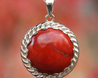 Beautiful Spider Web Red Jasper 925 Sterling Silver Necklace NEW