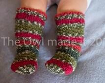 Hand knitted baby socks, baby girl gift, wool socks, kids socks, baby boy, baby girl, baby knee high socks, kids fall, Christmas, UK seller
