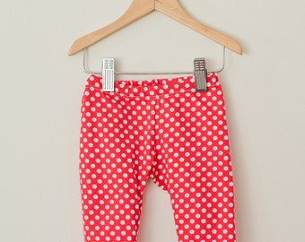 Red Polka Dot Leggings, Baby Leggings, Infant Leggings, Knit Leggings, Baby Pants, Toddler Leggings, Made to Order