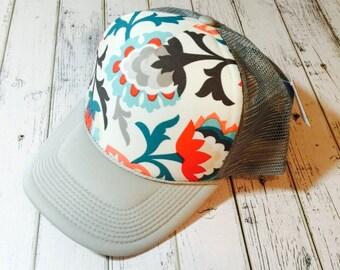 Floral hat, cute flora hat, floral trucker hat, floral fashion, floral crown, floral snapback, cute womens hat