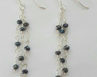Mystic Black Spinel and Sterling Silver Earrings