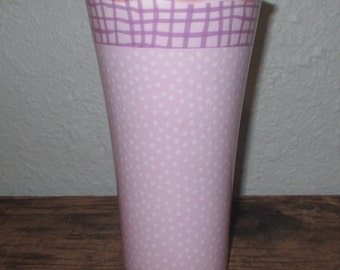 Vintage Pottery Vase ~ Pink with White Dots ~ Purple lines on top ~ Country Cottage ~ Shabby Chic ~ Girl's Room