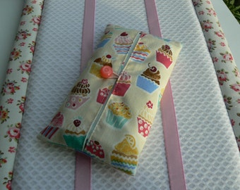 Cupcakes pocket tissue holder fabric tissue case kleenex pouch travel pocket tissue