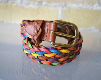 CAPEZIA ARGENTINA Genuine Leather Braided Multi Coloured Waist Belt