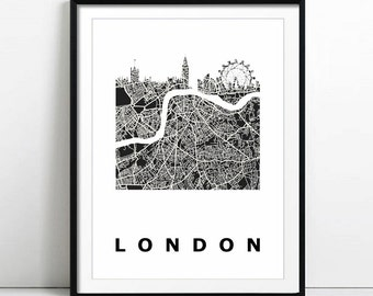 Wall Art Printable London Digital Print Digital Download London Print London Map London Skyline Instant Download London England Map Art