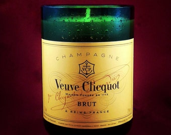 Upcycled totally amazing famous brand champagne bottle candle with or without topper/goblet