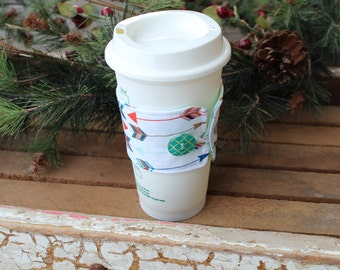 Reusable Coffee Cup Sleeve, Coffee Cup Cozy, Arrow Coffee Cup Cozy, Ready to Ship