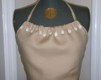Belgian Linen Halter with White Teardrop Embellished Neckline